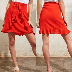 NWT GLAM Double Ruffle Skirt with Front Tie !